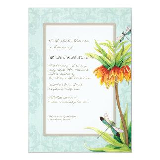 Elegant Fritillaria Dragonfly Floral Bridal Shower 5x7 Paper Invitation Card