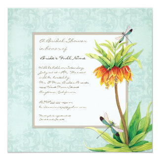 Elegant Fritillaria Dragonfly Floral Bridal Shower Card