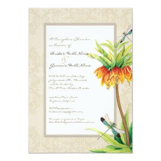 Elegant Fritillaria n Dragonfly Couples Shower Custom Invitations