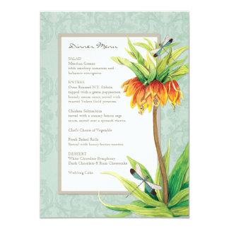Elegant Fritillaria n Dragonfly Formal Dinner Menu Card