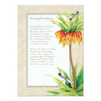 Elegant Fritillaria n Dragonfly Information Sheet Card