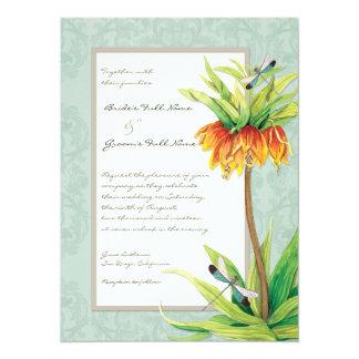 Elegant Fritillaria n Dragonfly Wedding Invitation