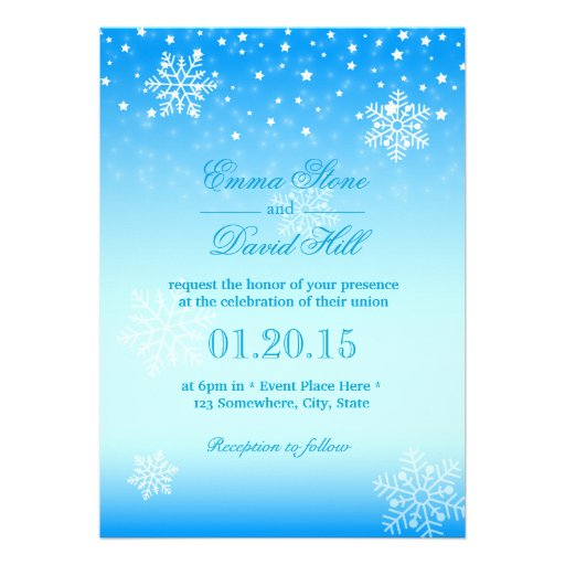 Elegant Frozen Winter Snowflakes Blue Wedding 5 X 7 Invitation Card