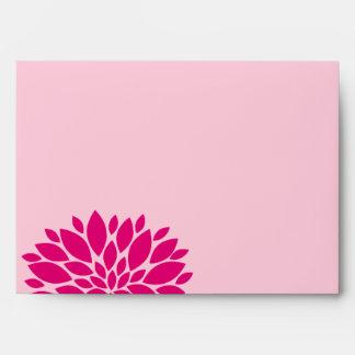 Elegant Fuchsia and Pink Blush Floral Burst Envelope