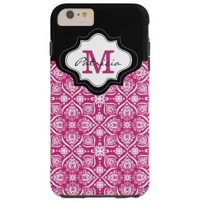 Elegant Fuchsia Damask Pattern Custom Monogram [1] Tough iPhone 6 Plus Case