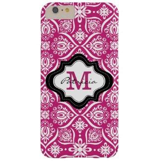 Elegant Fuchsia Damask Pattern Custom Monogram [2] Barely There iPhone 6 Plus Case