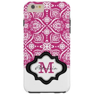 Elegant Fuchsia Damask Pattern Custom Monogram [3] Tough iPhone 6 Plus Case