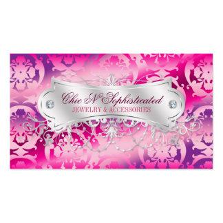 Elegant Fuchsia Lavender Damask Swirl Business Cards