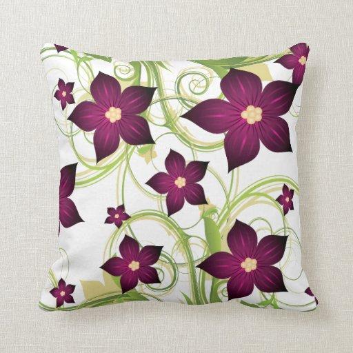 elegant fuchsia pink floral throw pillow
