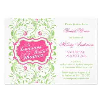 Elegant Fuchsia Pink Green Floral Bridal Shower Announcements