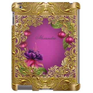 Elegant Fuchsia Purple Pink Floral Flowers Gold