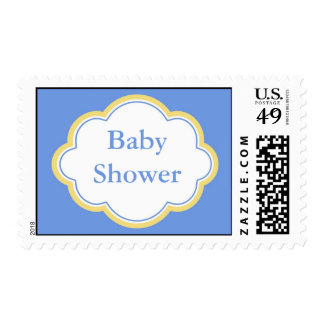 Elegant, fun blue and yellow baby shower postage