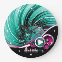 Elegant Funky Girly Disco Ball Vector Large Clock