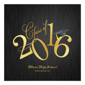 Elegant Funky Gold Class of 2016 Graduation Card