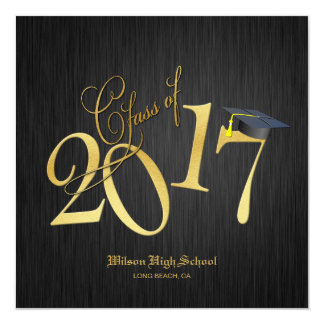 Elegant Funky Gold Class of 2017 Graduation Card