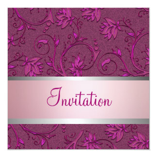Elegant Fuschia Metallic Floral Damask All Events Card