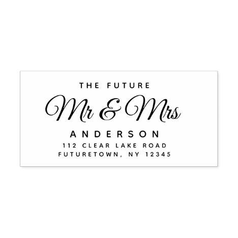 Elegant Future Mr and Mrs Return Address Script Rubber Stamp