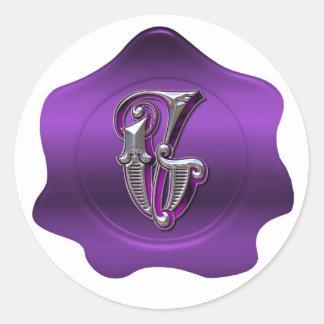 Elegant G Monogram Purple Wax Seal Look Sticker