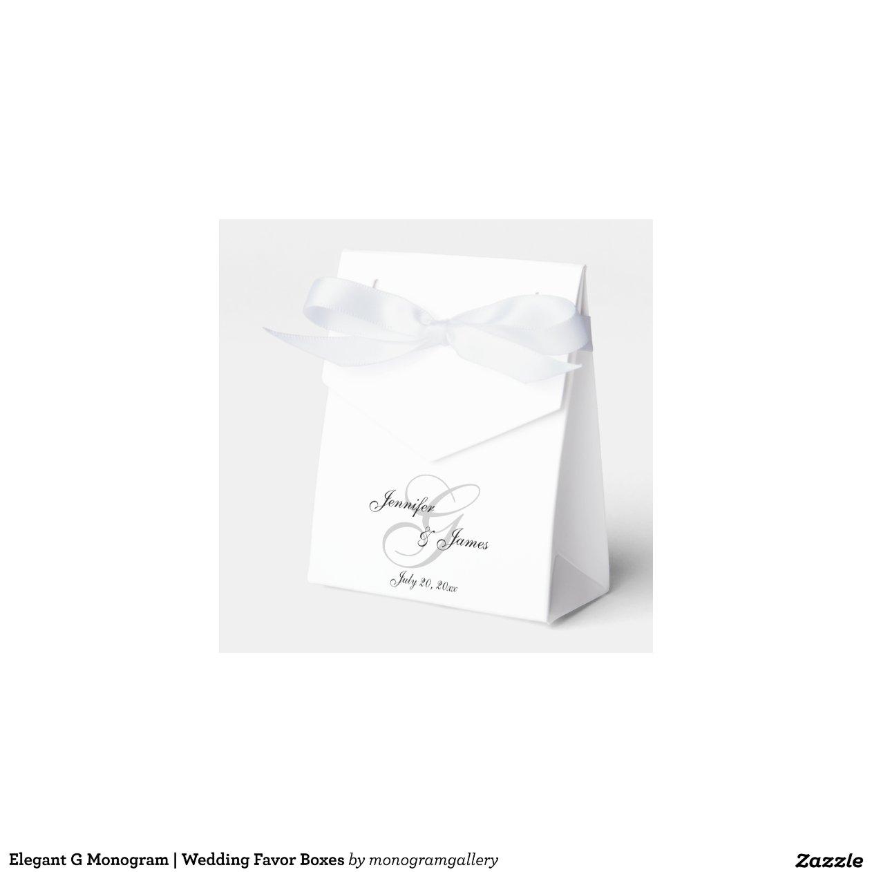Wedding Favor Boxes Trinidad : Elegant g monogram wedding favor boxes zazzle