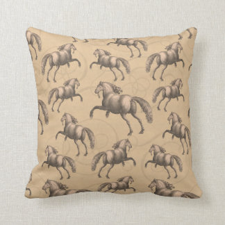 Elegant Galloping Spanish Horse Throw Pillow