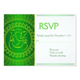 Elegant Ganesh   Indian God Green RSVP Cards Custom Invitation