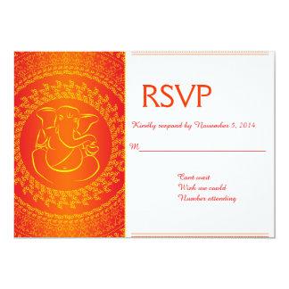 Elegant Ganesh   Indian God Orange RSVP Cards Personalized Invites