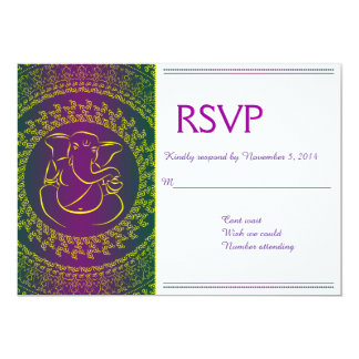 Elegant Ganesh   Indian God Purple RSVP Cards Invites