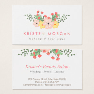 Elegant Garden Botanical Floral Makeup Artist Business Card
