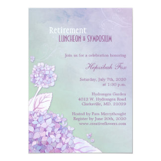 Elegant Garden Hydrangeas Retirement Party Card