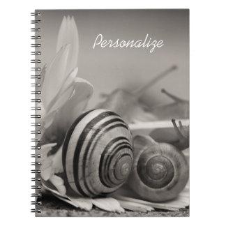 Elegant Garden Snails On Gerbera Daisy With Name Spiral Notebooks