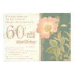 Elegant Gardener's 60th Birthday Vintage Rose Announcements