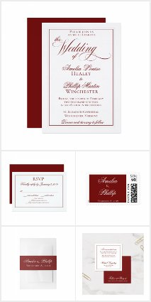 Elegant Garnet Red and White Wedding