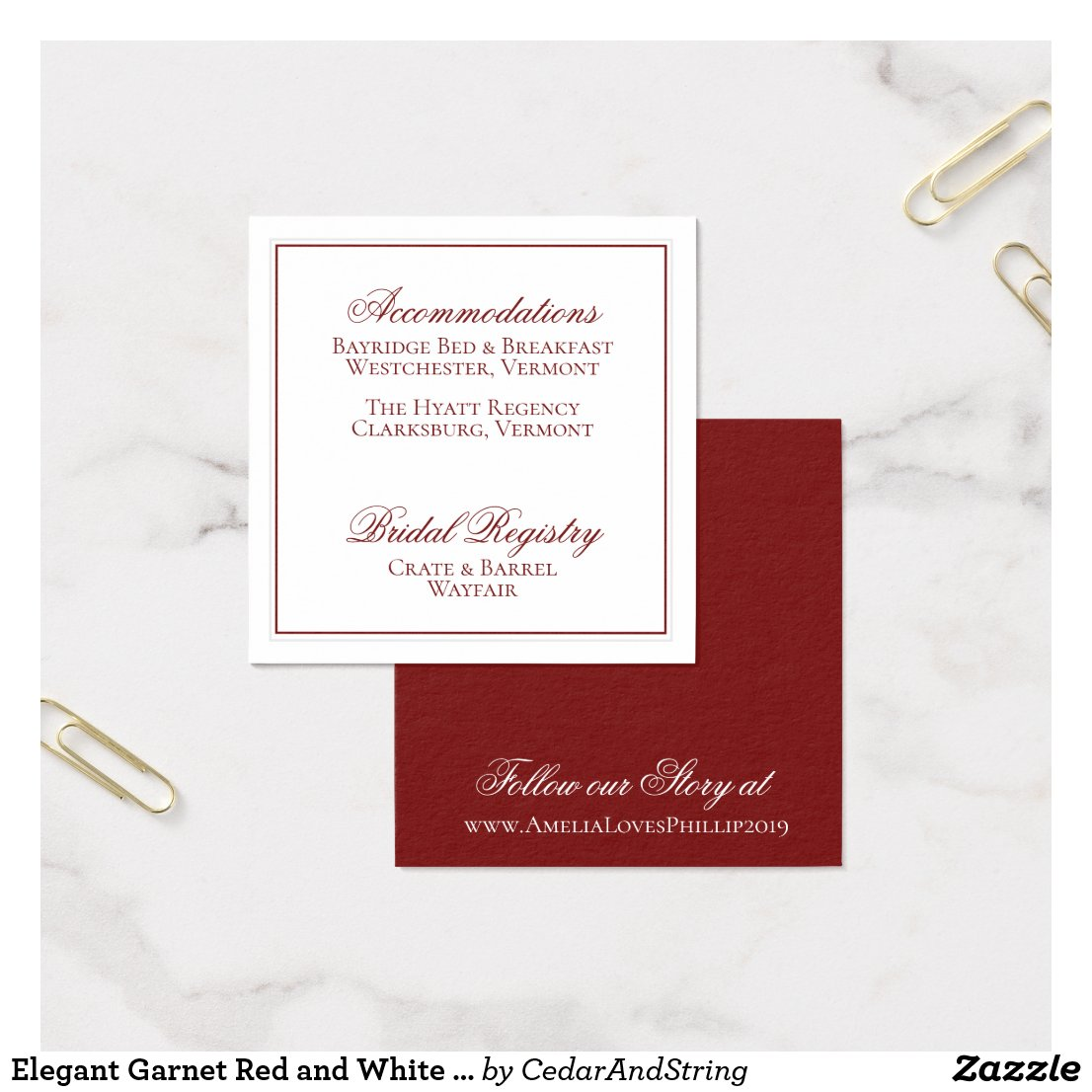 Elegant Garnet Red and White Wedding Details Card