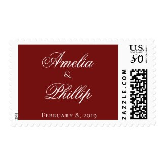 Elegant Garnet Red and White Wedding Postage