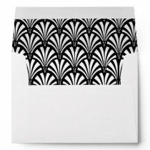 Elegant Gatsby Art Deco Black and White Wedding Envelope