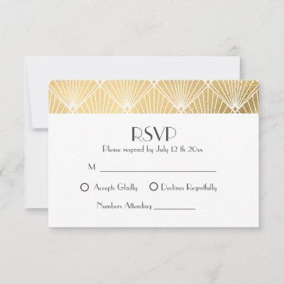 Elegant Gatsby Art Deco Gold Wedding RSVP