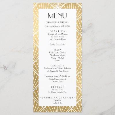Elegant Gatsby Art Deco White & Gold Wedding Menu