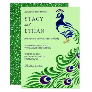 Elegant Gem Green Faux Glitter Peacock Wedding Card