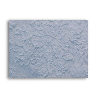 Elegant Gentle Blue Lace Wedding Envelope