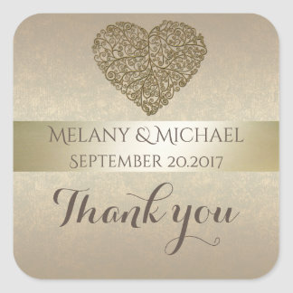 Elegant gentle golden abstract heart thank you square sticker