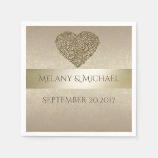 Elegant gentle golden abstract heart wedding napkin