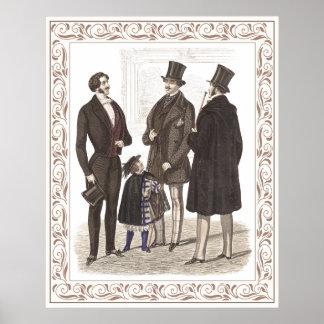 Elegant Gentlemen Formal Wear Biedermeier Period Posters
