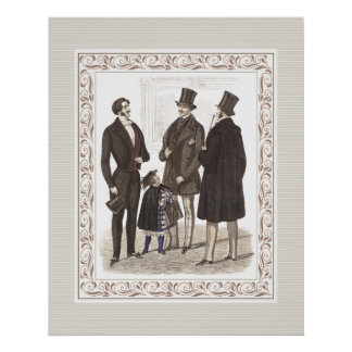 Elegant Gentlemen Formal Wear Biedermeier Period Print