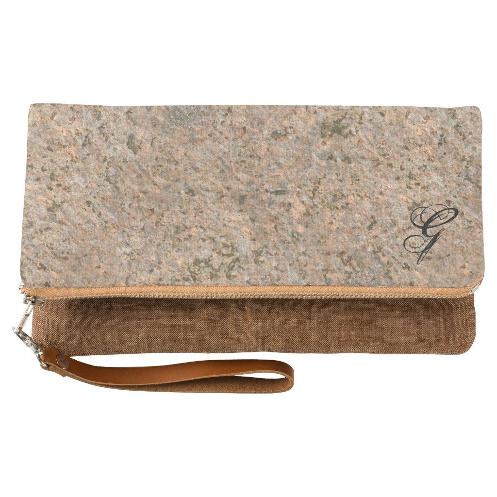 Elegant Geology Neutral Rock Texture any Monogram