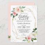 """Elegant Geometric Blush Pink Floral Birthday Party Invitation<br><div class=""""desc"""">Elegant Geometric Blush Pink Floral Birthday Party Invitation. For further customization,  please click the """"customize further"""" link and use our design tool to modify this template. If you need help or matching items,  please contact me.</div>"""