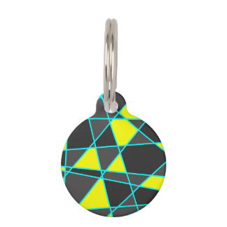 elegant geometric bright neon yellow and mint pet name tag