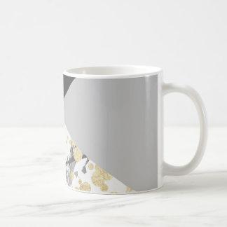 Elegant geometric coral color block gold confetti coffee mug