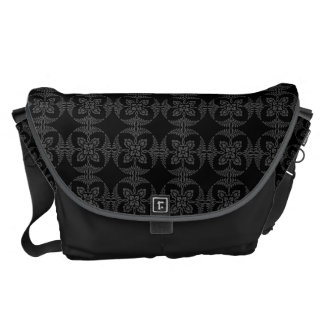 Elegant Geometric Floral in Black and Gray Messenger Bag