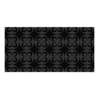 Elegant Geometric Floral in Black and Gray Custom Photo Card
