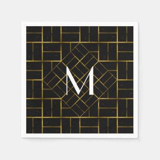 Elegant Geometric Gold Art Deco Pattern  Monogram Napkin